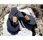 Mens Sandal Black with Yellow Fish