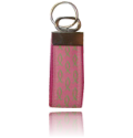 Nickle Keychain Pink with Green Fish, One Size Fits All