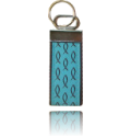 Nickle Keychain Turquoise with Brown Fish, One Size Fits All