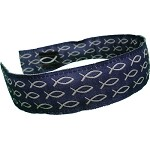 Head Band Blue with White Fish One Size Fits All