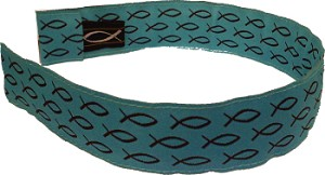 Head Band Turquoise with Brown Fish One Size Fits All