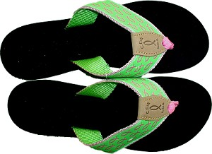 Womens Wedge Sandal Green with Pink Fish