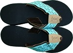 Womens Wedge Sandal Turquoise with Brown Fish