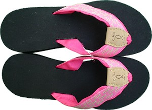Womens Wedge Sandal Pink with Green Fish