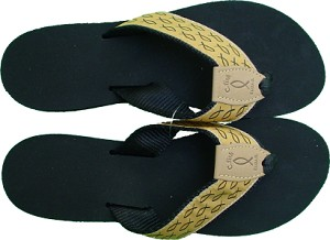 Womens Wedge Sandal Yellow with Black Fish